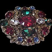 Jewel Tones Large Rhinestones Pin