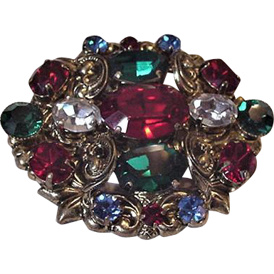 Jewel Tones Large Rhinestones Pin
