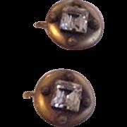 Brass and Glass Old Rhinestone Earrings