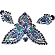 Green and Blue Rhinestone Pin and Earrings