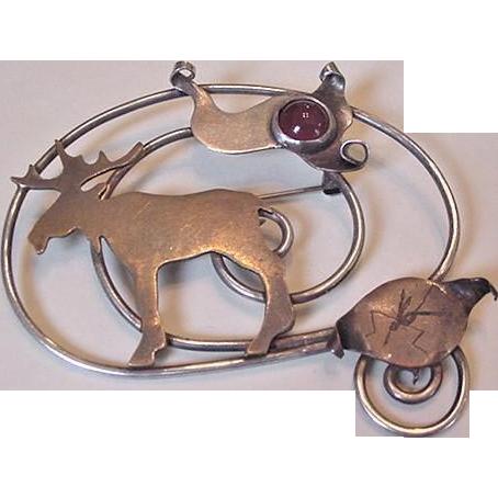 Naturalist Metalwork Moose Pin