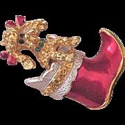 Christmas Boot with Peeking Poodle Dog Pin