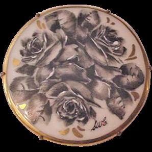 Black Roses Porcelain Pin