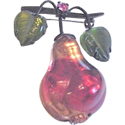 Austrian Glass Pear and Leaves Pin