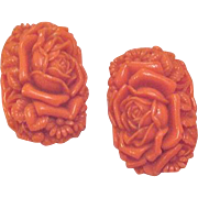 Coral Celluloid Dress Clips