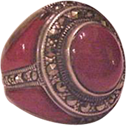 Sterling Silver Carnelian Marcasite  Substantial Ring