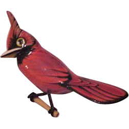 Carved Red Cardinal Pin