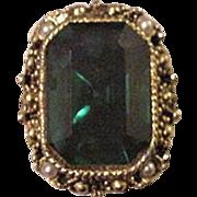 Emerald Green Glass Rhinestone Cocktail Ring