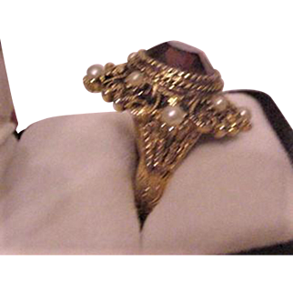 Victorian Revival  Vintage Rhinestone Cocktail Ring