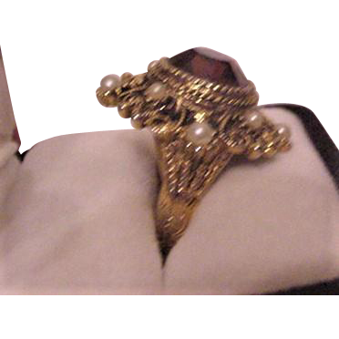 Victorian Revival  Vintage Rhinestone Cocktail Ring