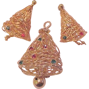 Wire Work Christmas Tree / Bells Pin and Earrings Set