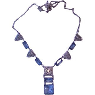 Azure Blue Sterling Silver Art Deco Necklace