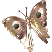 Sterling Silver Turquoise Butterfly Pin