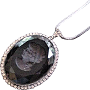 Hematite Glass and Rhinestones Intalio Cameo Necklace