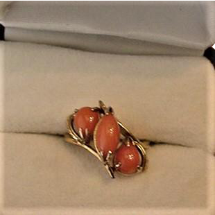 Coral Sterling Silver Vintage Ring