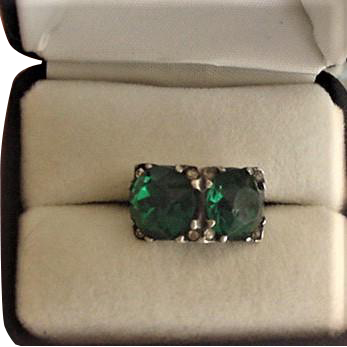 Art Deco Sterling Silver Emerald Green Glass Ring