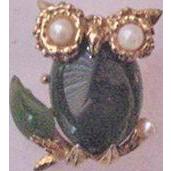 Swoboda Green Jade Owl Pin