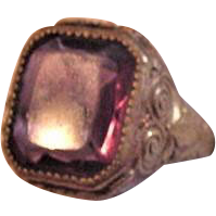 Brass and Glass Vintage Purple Ring
