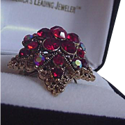 Red Rhinestone Cocktail Ring