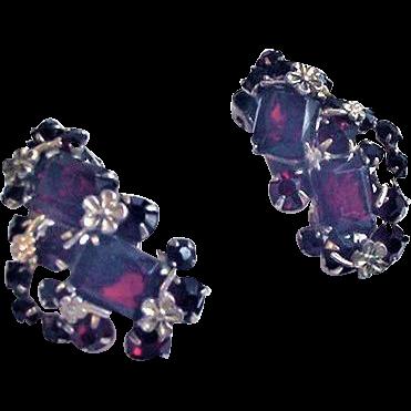 Dark Garnet Rhinestone Vintage Earrings