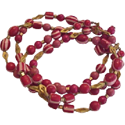 Cherry Red Laminated Lucite Beads Necklace