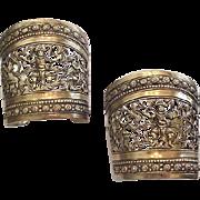 Nettie Rosenstein Sterling Silver Bracelets Heavy Vermeil Cuffs 1940's