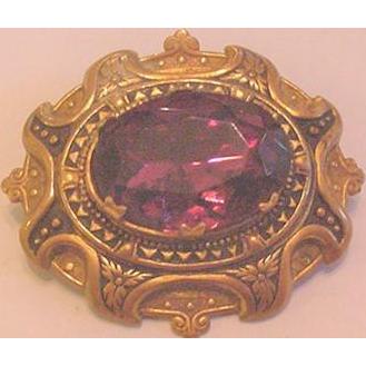 Victorian Revival Purple Rhinestone Pin