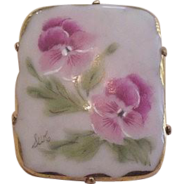 Painted Porcelain Floral Pin