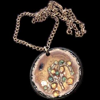 Large Enameled Modernist Orange Tree Medallion Pendant Necklace