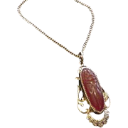 Carved Carnelian Scarab Necklace