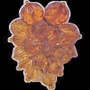 Miriam Haskell Amber Crystals Dress Clip