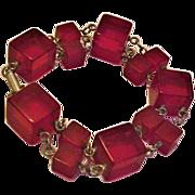 Cherry Amber Bakelite Cubes Bracelet