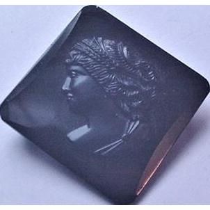 Black Glass on Tin Cameo Pin
