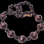 Venetian Glass Black Beads Necklace