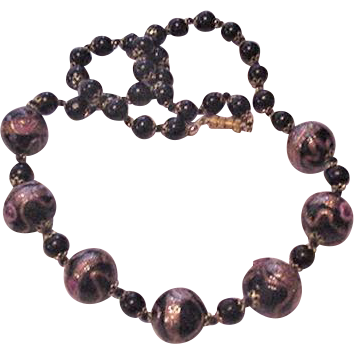Venetian Glass Black Beads Necklace