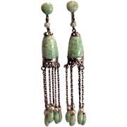 Art Deco Best Ever Peking Glass Dangles Earrings