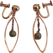 Krementz Dangling Jade Earrings