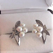 Mikimoto Sterling Silver Pearl Earrings