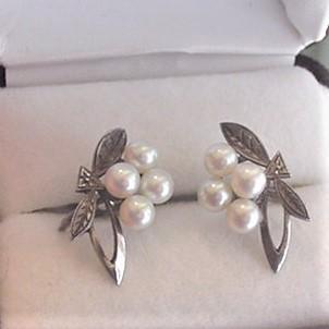 Mikimoto Sterling Silver Pearl Earrings