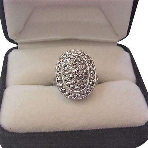Art Deco Sterling Marcasite Ring Theda