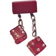Red Bakelite Rhinestone Dice Pin