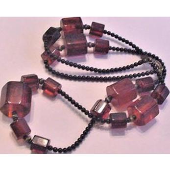 Amber Bakelite Barrel Beads Necklace