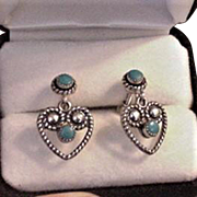 Sterling Silver Turquoise Heart Earrings