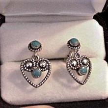 Sterling Silver Turquoise Heart Earrings
