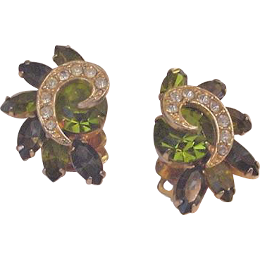 Weiss Olivine Rhinestone Earrings