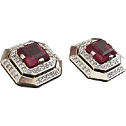 Panetta Red Rhinestone Earrings