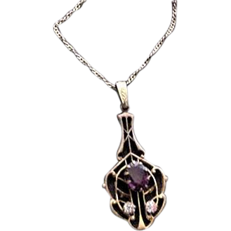 Art Nouveau Amthethyst rhinestone Necklace