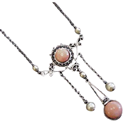 Sterling Silver Late Victorian Early Edwardian Coral Necklace