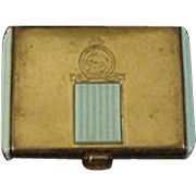 Art Deco Brass and Blue Compact