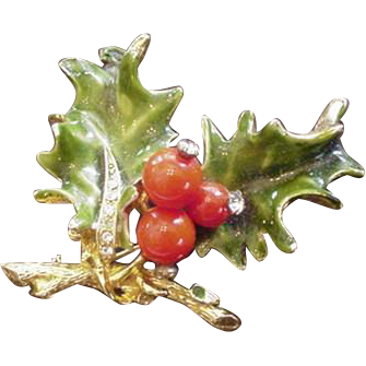 Christmas Holly with Berries Pin